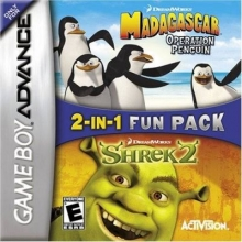 2 Games in 1 Shrek 2 + Madagascar Operation Penguin Compleet voor Nintendo GBA