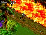 Let op voor de kolkende lava die door het landschap stroomt.