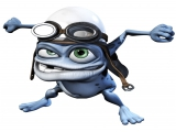 Hier zie je de hoofdpersoon zelf, Crazy Frog!