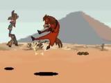 Het paard Buck gebruikt zijn karate-moves om de criminele cowboys te verslaan.