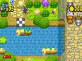 Boomstammen en rivieren kunnen natuurlijk niet ontbreken in een Frogger spel.