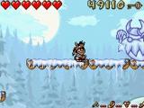 Op je tocht zal je tal van grotere vijanden moeten verslaan, zoals deze bevroren viking-uil.
