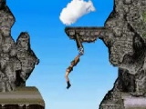 Slinger van rots naar rots en zorg dat je op het juiste moment loslaat.