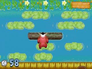Het oversteken van de rivier doet denken aan het klassieke spel Frogger.