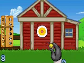 Op de boerderij spelen de dieren darts met vogeltjes in plaats van met pijltjes.