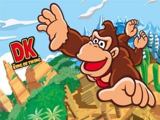 Wie vliegt daar tussen de boomtoppen? het is <a href = https://www.mariogba.nl/gameboy-advance-spel-info.php?t=Donkey_Kong target = _blank>Donkey Kong</a>, The King of Swing!