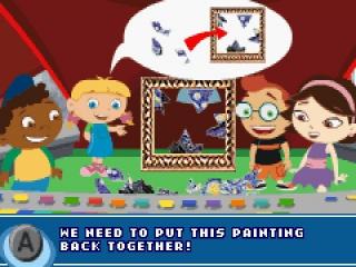 Repareer het kapotte schilderij door de stukjes op de juiste plaats te lijmen.