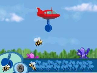 In één van de zes mini-games probeer je zoveel mogelijk bijtjes te grijpen!