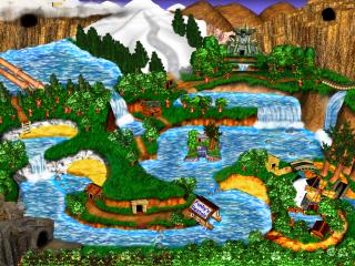 De wereldmap van Donkey Kong Country 3 Advance