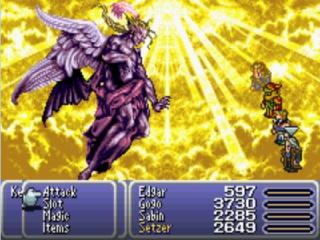 In gevecht met Kefka, de main villain uit het spel die je meerdere malen dwars zal zitten.