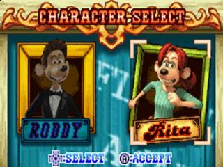 In Flushed Away speel je met de muis Roddy, maar bij sommige levels heb je ook de mogelijkheid om Rita als personage te kiezen.