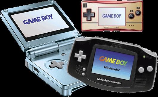 De verschillende types: De <a href = https://www.mariogba.nl/gameboy-advance-spel-info.php?t=Game_Boy_Advance_SP target = _blank>GBA SP</a> (blauw), de <a href = https://www.mariogba.nl/gameboy-advance-spel-info.php?t=Game_Boy_Micro target = _blank>GB Micro</a> (roze) en de standaard GBA (zwart).