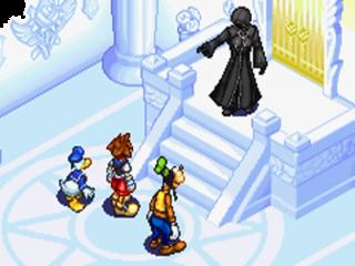 Sora, Donald en Goofy reizen door een kleurrijke wereld op zoek naar hun vermiste vrienden.