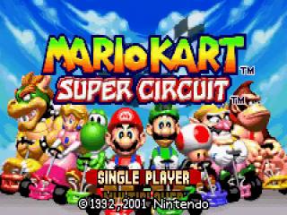 Mario, Luigi, Peach, Toad, Wario, Yoshi, <a href = https://www.mariogba.nl/gameboy-advance-spel-info.php?t=Donkey_Kong target = _blank>Donkey Kong</a> en Bowser staan klaar om de race te starten in Mario Kart Super Circuit.