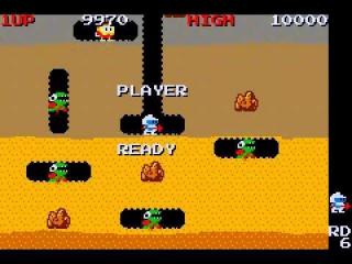 Speel als de mijnwerker Taizo Hori in het legendarische spel Dig Dug.