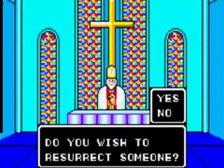 In de kerk krijg je de mogelijkheid om personen uit de dood te laten opstaan.