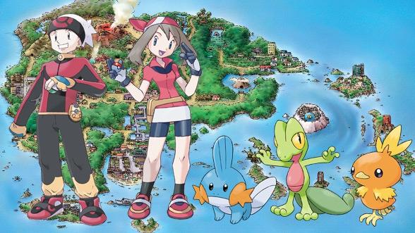 Hier zie je Brandon en May samen met de drie Starter Pokemon uit de Hoenn-Regio