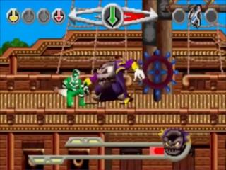 Op deze piratenboot neemt de groene ranger het op tegen een van de bazen!