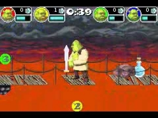 Shrek SuperSlam is een multiplayer-vechtgame waarin twee tot vier vechters in verschillende arena-stadia strijden.