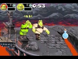 """De """"Slam"""" -aanval van elk personage heeft verschillende effecten en bereik. Bijvoorbeeld, Shrek zijn 'Green Storm' aanval zal tegenstanders door de lucht laten vliegen."""