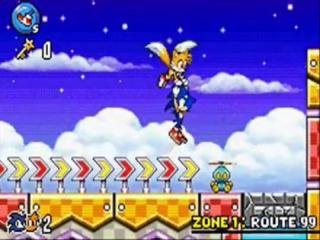 Door zijn staart als helicopter te gebruiken kan Tails zijn vriend Sonic helpen.