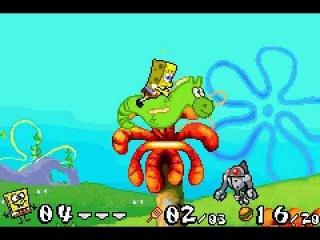 """SpongeBob kan in bepaalde levels op een zeepaardje met de naam """" Mystery """" rijden."""