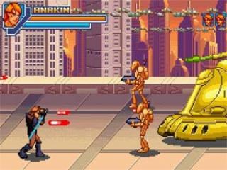 Gebruik je lightsaber om je te beschermen tegen de laserstralen van de vijandige <a href = https://www.mariogba.nl/gameboy-advance-spel-info.php?t=Robots_GBA target = _blank>robots</a>!