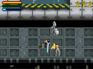 Mace Windu hakt alle vijanden in de pan met zijn blauwe lightsaber.