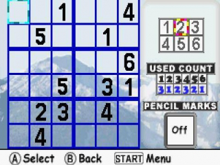 Sudoku voor de <a href = https://www.mariogba.nl/gameboy-advance-spel-info.php?t=Game_Boy_Advance target = _blank>Gameboy Advance</a> heeft ook een ingebouwde versie die iets eenvoudiger is.