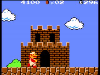 Zoals altijd verdwijnt Mario in het kasteeltje als hij naar de vlag heeft gesprongen.