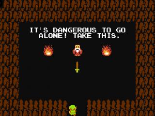Wanneer de oude man je het zwaard geeft, kan je avontuur beginnen!