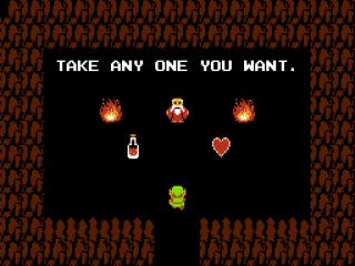 Je zult een keuze moeten maken Link: wil je liever een Heart container of een genezend drankje? NEEM HET HEART!!!