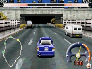 Race tegen andere wagens in het drukke verkeer van Tokyo.