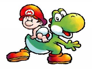 Hier zie je Yoshi en Baby Mario, een erg schattig duo!